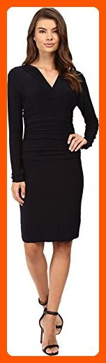 KAMALIKULTURE by Norma Kamali Women's V-Neck Long Sleeve Shirred Waist Dress Midnight/Navy Dress XS - All about women (*Amazon Partner-Link)