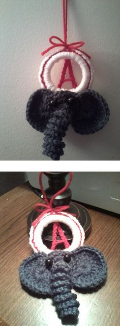 Crochet Alabama Christmas ornament, (top pic shows how it looks hanging, bottom pic see more detail on the elephant)