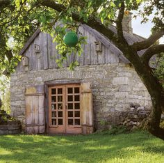 Stone and wood barn...