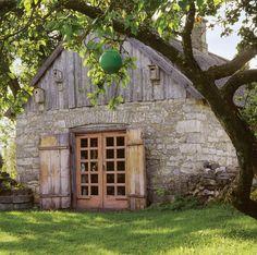 Stone and wood barn...