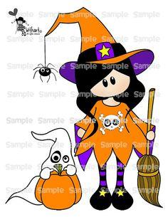 Witch pumpkin ghost Nina dolls 0297 digital clip art by Withart