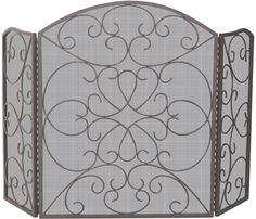 UniFlame 3 Fold Arched Bronze Fireplace Screen with Ornate Scrollwork