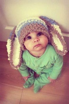 e040c568b4f 0 to 3 Newborn Baby Hat Bunny Hat - Stripe Bunny Beanie Boy Crochet Hat - Newborn  Hat Brown Lagoon Blue Cream Bunny Ears Photo Prop