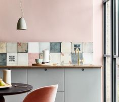 Modern Kitchen Design Elegant pink kitchen with cement tiles - Warm up your home with pink wall colour Modern Kitchen Wall Decor, Modern Kitchen Design, Home Decor Kitchen, Interior Design Kitchen, Modern Decor, Home Kitchens, Modern Wall, Modern Furniture, Country Kitchen
