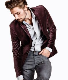 Shop this look on Lookastic: http://lookastic.com/men/looks/burgundy-velvet-blazer-and-grey-longsleeve-shirt-and-grey-jeans/611 — Burgundy Velvet Blazer — Grey Long Sleeve Shirt — Grey Jeans