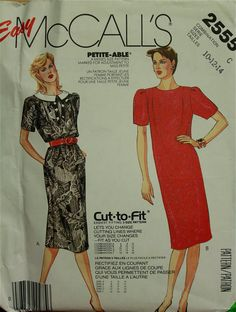 1980s Dresses Straight McCall's Pattern 2555 by patterntreasury, $12.95