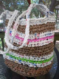 RECYCLED ECO FRIENDLY crocheted plastic bag tote bag   shoulder bag  pink & green stripe. $28.00, via Etsy.