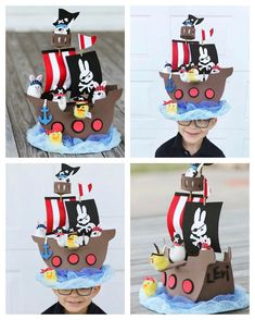 Pirate Chicks and bunnies for the Easter hat parade! Manhunter campana ha dejado p usarse Crazy Hat Day, Crazy Hats, Easter Hat Parade, Easter Arts And Crafts, Funny Hats, Pirate Hats, Diy Hat, Kids Hats, Bunny