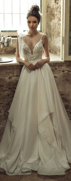 Wedding Dress by Julie Vino 2017 Romanzo Collection | Ballgown with plunging neckline