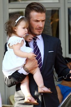 David being a good dad with Harper Beckham