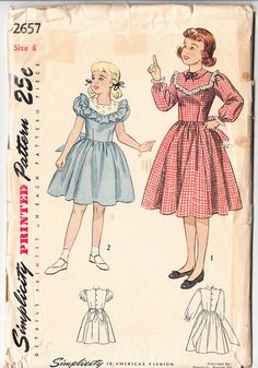 Vintage 1948 Simplicity 2657 Sewing Pattern Girl's