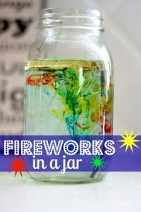 Fireworks in a Jar Science Experiment - not as big of a wow as I expected. Kids were mildly interested. Better experiments out there to teach density. As for fireworks, not so much. Kid Science, Preschool Science, Science Experiments Kids, Science Fair, Teaching Science, Science Projects, Science Activities, Summer Activities, Projects For Kids