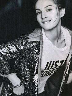 Maria Valverde || sequined jacket + graphic t-shirt