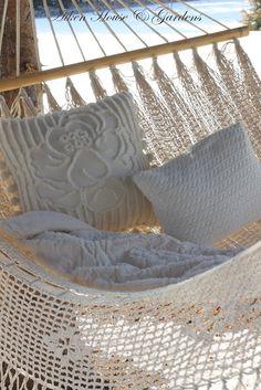White hammock for the garden