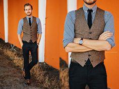 J. Crew Ludlow Vest, J. Crew Gingham Shirt, Bed Stu Corsico, Wd.Ny Tweed Tie, Timex Watch