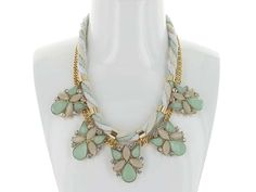 StaggeFancy Rope and Metal Necklace - In this gorgeous Celadon Green mix, this necklace will be a Summertime Favourite!  Accented with faceted rhinestones and colourful droplets.