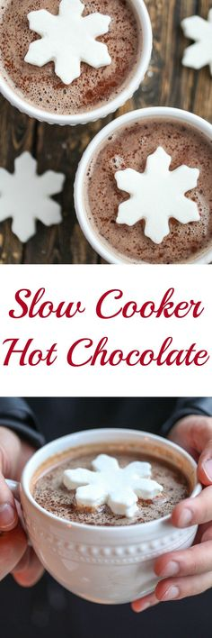 This really is the best slow cooker hot chocolate and it is super simple. You can make it a peppermint hot chocolate, or add dark chocolate for a richer chocolate flavor.