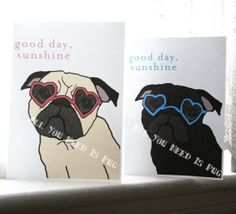 Sunshine Pug Cards  - Set of 6. $15.00, via Etsy.
