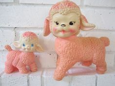 Sun Rubber company Rubber Squeaky toy PINK Sheep by katehartxoxo