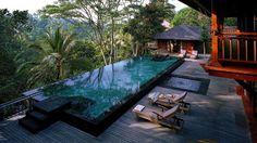 Tropical wellness retreat overlooking the Bali jungle.