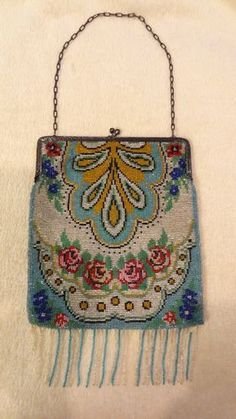 Early 1900's Germany Glass Beaded Satin Interior Flapper Purse Art Deco Chain | eBay