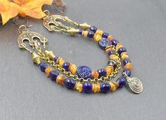 Check out Viking brooch chain amber / bronze / blue / Apron Dress / Viking amulet / Viking jewelry / replica / select chain distribution/ unique # 249 on belanasschatzkiste #vikingjewelry