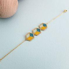 Bracelet trio de ★cubes 3D★ tissé en perles japonaises Miyuki