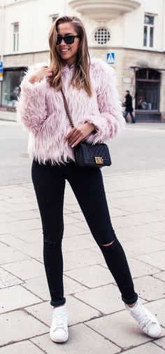 Pink Faux Fur Jacket                                                                             Source