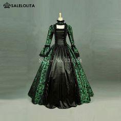 Green Print Brocade Victorian Dress Georgian Period Gown Vintage Steampunk Clothing Renaissance Historical Party Dress Custom(China (Mainland))