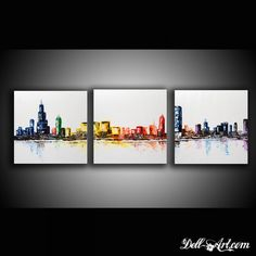Original Abstract art-Urban painting-ModernTextured Painting- Home decor oil on canvas- Chicago Three Canvas Skyline