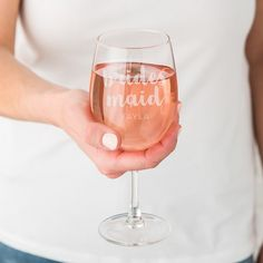 Large Personalized Wine Glass - Bridesmaid - Shop on WeddingWire! Elegant Wedding Favors, Trendy Wedding, Dream Wedding, Bridesmaids And Groomsmen, Bridesmaid Gifts, Large Wine Glass, Personalized Wine Glasses, Personalised Wine, Wedding Day Gifts