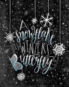 Winter Decor Christmas Art Snowflake Print Chalkboard Art Chalk Art A Snowflake Is Winters Butterfly Basteln Chalkboard Lettering, Chalkboard Print, Chalkboard Designs, Chalkboard Drawings, Chalkboard Ideas, Barn Wood Frames, Chalk It Up, Christmas Art, Art Boards
