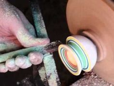 Turning a giant jawbreaker on a lathe to make a shot glass!