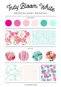 Indy Bloom White Bedding. Baby Bedding. Pink Baby Bedding. Floral Baby Bedding. Crib Sheet. Crib Skirt. Nursing Pillow Cover. Nursing Pillow Cover, Pillow Covers, Web Design, Scrapbooks, Baby Cover, Cozy Blankets, Crib Sheets, Color Pallets, Bedding Collections