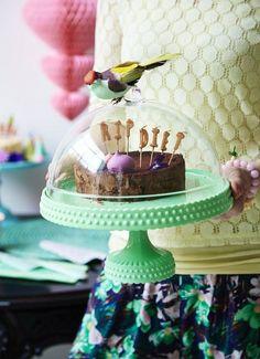 Mooie taartstolp van melamine in een frisse kleur pastelgroen. Heel feestelijk…