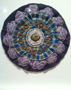 Bluebird, 2011.  Sewn mixed media mandala by Donna Sharrett, shown by Pavel Zoubok Gallery.