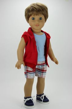 Handmade 18 inch doll clothes - Boy red, white and blue 3 piece hoodie outfit by DolliciousClothes on Etsy American Girl Outfits, Boy American Girl Doll, American Doll Clothes, American Girls, Boy Doll Clothes, Barbie Clothes, Boy Clothing, Doll Dress Patterns, Sewing Patterns Girls