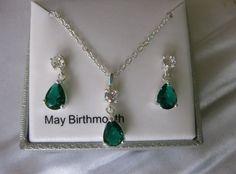 Silver Tone Simulated Green Crystal Teardrop Pendant & Drop Earring Set Boxed