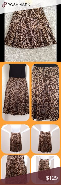 Leopard Print Silk Pleated Skirt by Celine A-line cut with knee length hemline, Measurement shown in pic 4.  Side zipper that works well, and top button in place.  100% silk outer and 100% silk lining.  The skirt is in great condition with no observable flaws.  Size 42 in France ,  translates to a 6 in American clothing.  Waist measurement posted.  Pic 3  shows fit and was obtained from google. More pics available per request.  Retails for over $500. Celine Skirts