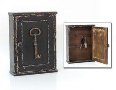 Schlüsselkasten Holz antik Landhaus Impressionen Schlüsselschrank schwarz