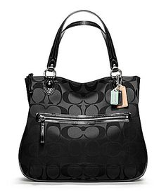 198.00 COACH POPPY SIGNATURE SATEEN HALLIE EASTWEST TOTE  Dillards 49923ca701127