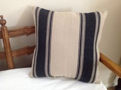 """18"""" Black Striped Grain sack Pillow by Caswellandcompany on Etsy"""