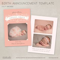 Girl Birth Announcement Template Photo Collage - Little Princess CB010 - PSD Flat Card by OtoStudio on Etsy https://www.etsy.com/listing/174989261/girl-birth-announcement-template-photo