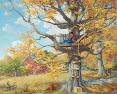 """Tree House"" Jigsaw Puzzle by White Mountain Puzzles.   Artist: Lee Stroncek/Wild Wings : Item: 964 : 1000 piece jigsaw puzzle: Finished size 24"" x 30"" $15.95"