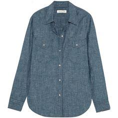 Étoile Isabel Marant Sila cotton-chambray shirt (3 965 ZAR) ❤ liked on Polyvore featuring tops, shirts, blue, cotton shirts, chambray shirt, blue cotton shirt, snap shirt and shirts & tops