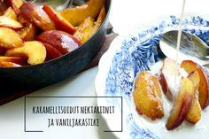 Karkkipäivä: Karamellisoidut nektariinit ja vaniljakastike (viljaton…
