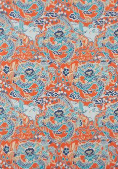 IMPERIAL DRAGON, Coral and Turquoise, F914237, Collection Imperial Garden from Thibaut