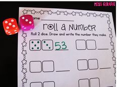 Easy number recognition practice with this center activity - roll 2 dice, draw it, and write the number it makes... and a lot more number sense games!