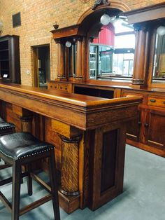 Our beautiful bespoke flame oak high top bar. Such a gorgeous piece of heritage furniture!