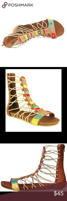 MIA Bollywood Gladiator Sandals 6 The MIA Bollywood Sandal features a sleek middle and back panel, sturdy looping bungee cord straps, and a thin but cushioned sneaker bottom. Multicolor Woven T-strap. Material: man made. MIA Shoes Sandals